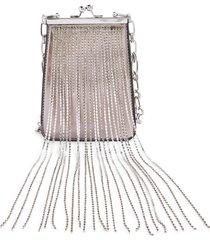 topshop diamante dangle metallic crossbody bag - metallic