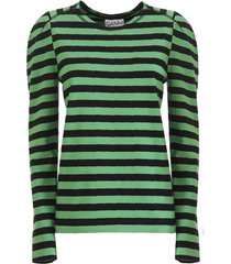 ganni striped cotton jersey puff sleeve pullover