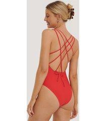 na-kd swimwear double cross strap swimsuit - red
