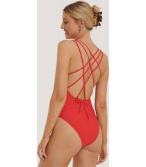na-kd swimwear double cross strap swimsuit - red