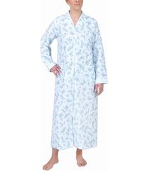 miss elaine plus size quilted printed long zipper robe