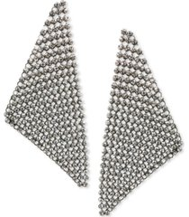 thalia sodi silver-tone crystal mesh triangle statement earrings, created for macy's
