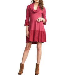 women's maternal america cowl neck maternity dress, size medium - purple