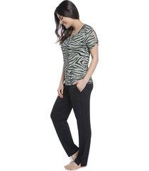 pijama feminino com calça preta e blusa zebra lounge - kanui