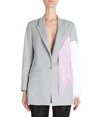 fringe colorblock wool jacket