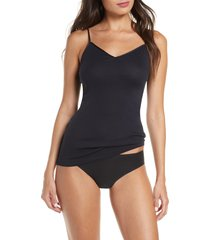 women's hanro seamless v-neck cotton camisole, size large - black