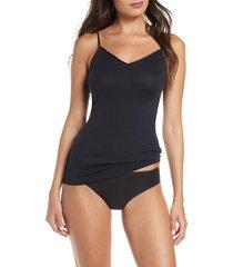 women's hanro seamless v-neck cotton camisole, size large - black