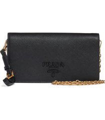 women's prada mini monochrome leather wallet on a chain - black