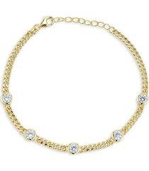 chloe & madison women's gold vermeil & cubic zirconia station bracelet
