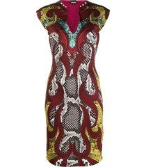 just cavalli snakeskin print pencil dress - red