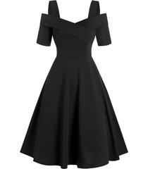 asymmetric a line cold shoulder dress