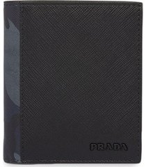 prada camouflage panel bi-fold wallet - black