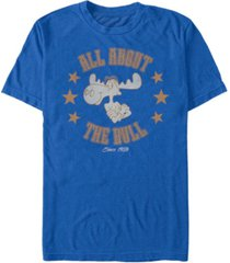 rocky and bullwinkle men's all about the bull short sleeve t-shirt