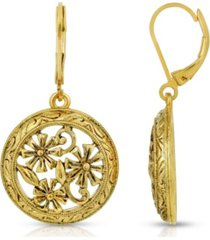 2028 gold-tone dipped round floral drop earrings