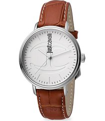cfc stainless steel & croc-embossed leather strap watch