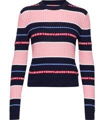 tjw logo stripe cable sweater gebreide trui multi/patroon tommy jeans
