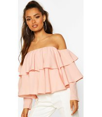 multi ruffle off the shoulder top, blush