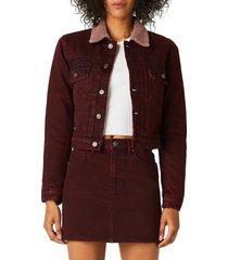 hudson women's lola shrunken faux fur-trimmed denim trucker jacket - wine - size m