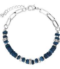 bracciale in ottone rodiato con elementi conchiglia blu e strass per donna