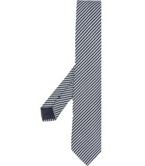 giorgio armani striped woven tie - blue