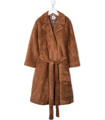 caffe' d'orzo faux-fur mid coat - brown