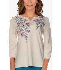 alfred dunner women's missy bryce canyon floral embroidered top