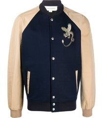 alexander mcqueen embroidered detail bomber jacket - blue