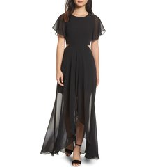 women's ali & jay cutout maxi dress, size large - black