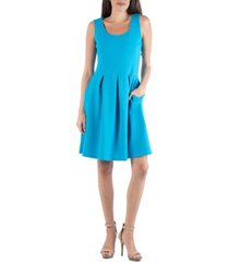24seven comfort apparel sleeveless skater pleated mini dress with pockets