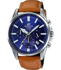 reloj casio efv_510l_2a marron cuero