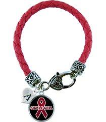 custom sickle cell disease awareness anemia ribbon leather bracelet gift jewe...
