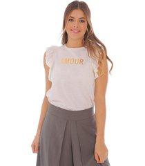 camiseta para mujer con boleros y estampado metalizado