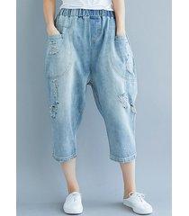 jeans harem a gamba larga con elastico in vita foro casual