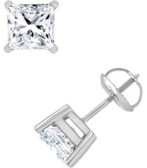 diamond princess-cut stud earrings (3 ct. t.w.) in 14k white gold