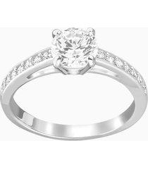 anello attract round, bianco, placcatura rodio
