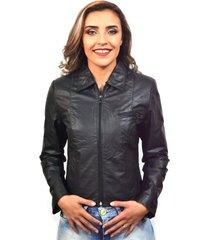 jaqueta feminina em couro 9020 preta