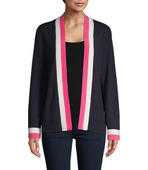 contrast-trimmed cashmere cardigan