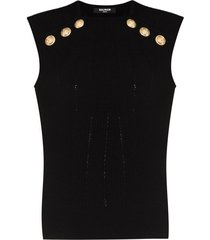 balmain embossed-button sleeveless knitted top - black
