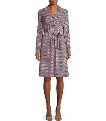 elie tahari women's saxon geometric-print tie-waist shirtdress - canyon rose - size 0