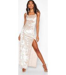 tall crushed velvet side split maxi dress, champagne