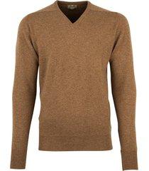 william lockie pullover cognac lamswol v-hals