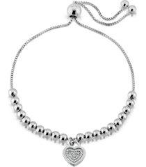 brilliant bubbles diamond 1/10 ct. t.w. heart charm bolo bracelet designed in sterling silver