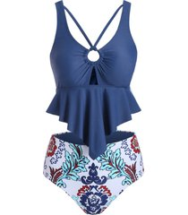 ring strappy flounce reversible tankini swimsuit