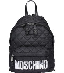 moschino logo quilted backpack