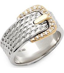 diamond and 14k gold buckle ring