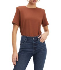 good american strong shoulder tee, size 2 in tortoise shell001 at nordstrom