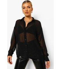dobby mesh blouse met lange mouwen, black