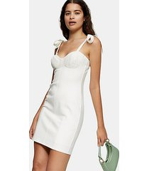 cream poplin tie bodycon mini dress - cream