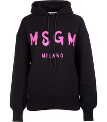 msgm woman black hoodie with fuchsia logo