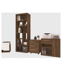 conjunto para escritório 02 livreiro/balcáo multiuso/gaveteiro/cachepô madeirado modern office e estilare móveis marrom